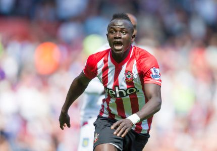 Southampton's Sadio Mane celebrates scoring the fastest hat-trick in Premier League history, during their English Premier League soccer match against Aston Villa at St Mary's, Southampton, England, Saturday, May 16, 2015. The Senegal midfielder's hat trick was timed at 2 minutes, 56 seconds at St Mary's Stadium. (Chris Ison/PA via AP) UNITED KINGDOM OUT - NO SALES - NO ARCHIVES