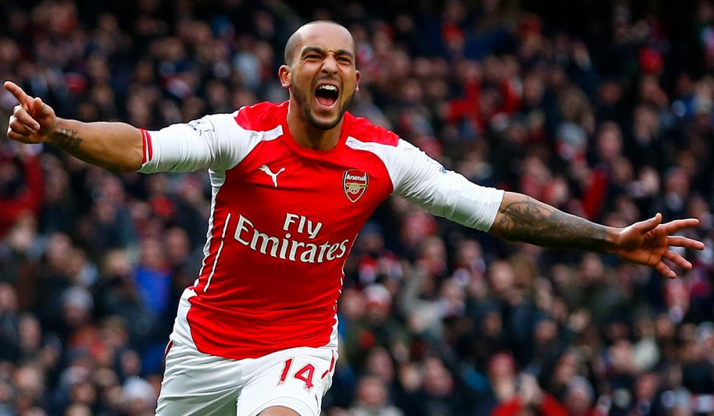 Arsenal's Walcott celebrates his goal against Aston Villa during their English Premier League soccer match in London