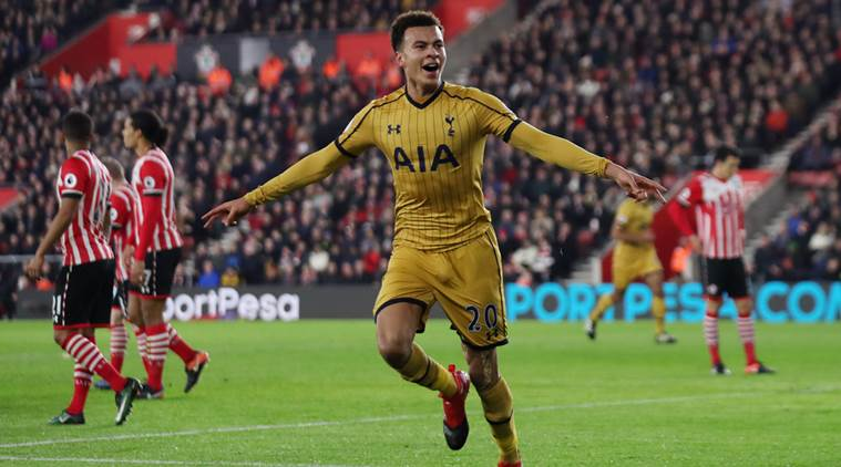 Tottenham's Dele Alli celebrates scoring their first goal
