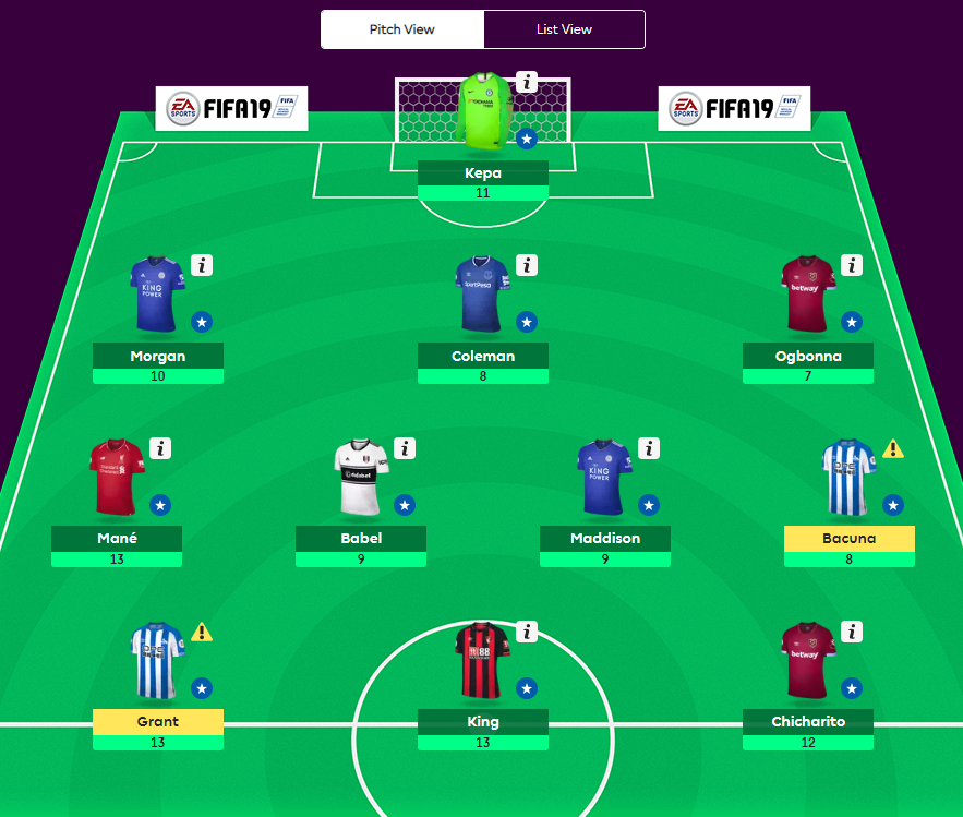 GW31 dream team